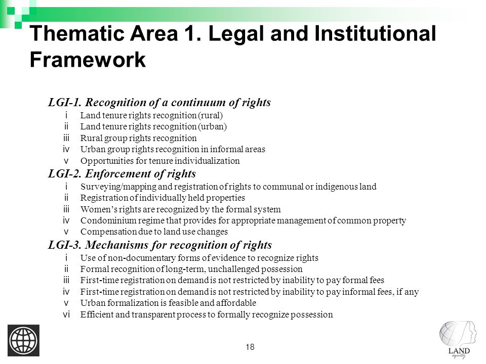 18 Thematic Area 1. Legal and Institutional Framework LGI-1.
