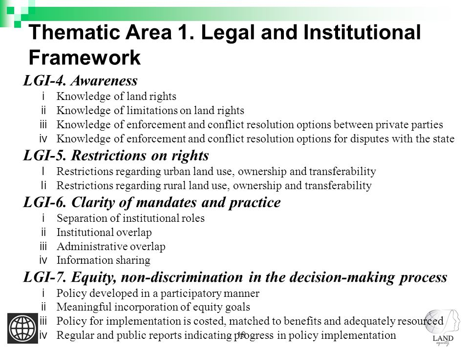 19 Thematic Area 1. Legal and Institutional Framework LGI-4.