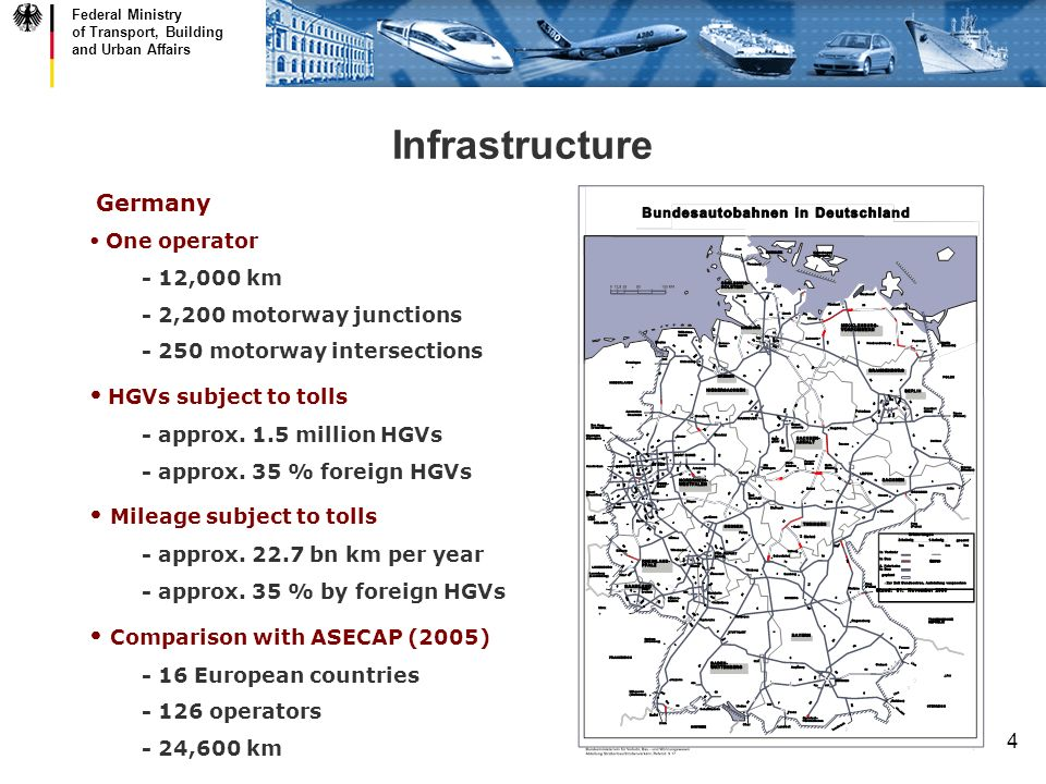 Federal Ministry of Transport, Building and Urban Affairs 4 Germany One operator - 12,000 km - 2,200 motorway junctions - 250 motorway intersections HGVs subject to tolls - approx.