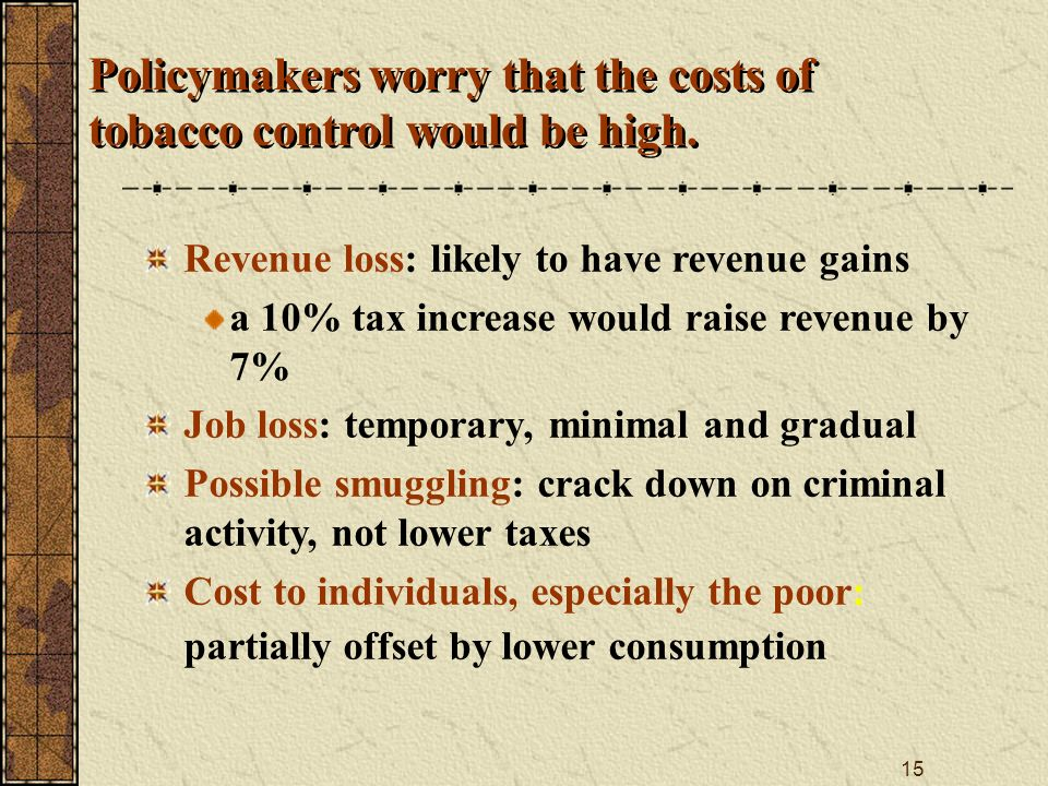 15 Policymakers worry that the costs of tobacco control would be high.