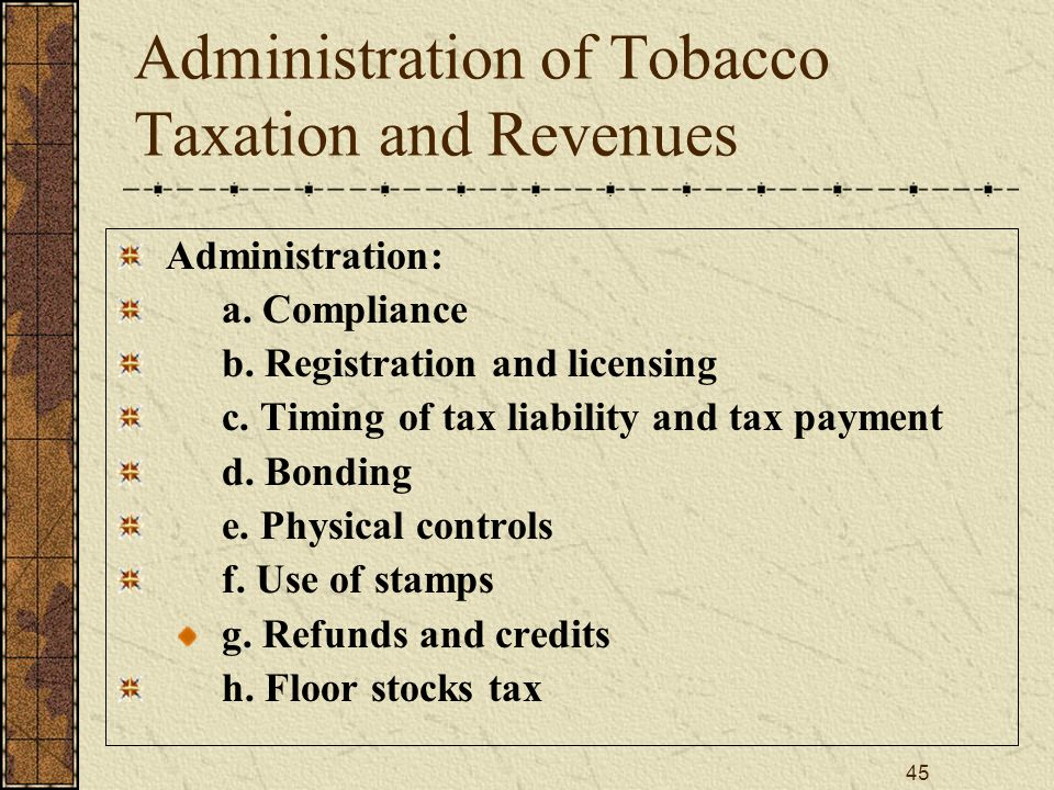 45 Administration of Tobacco Taxation and Revenues Administration: a.