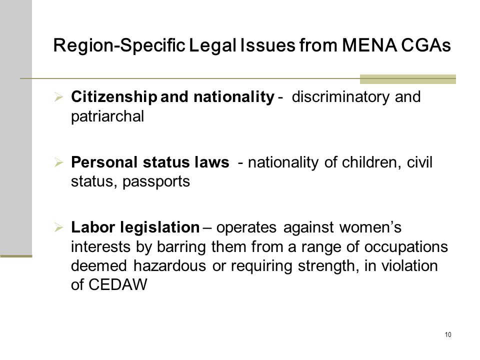 10 Region-Specific Legal Issues from MENA CGAs Citizenship and nationality - discriminatory and patriarchal Personal status laws - nationality of chil