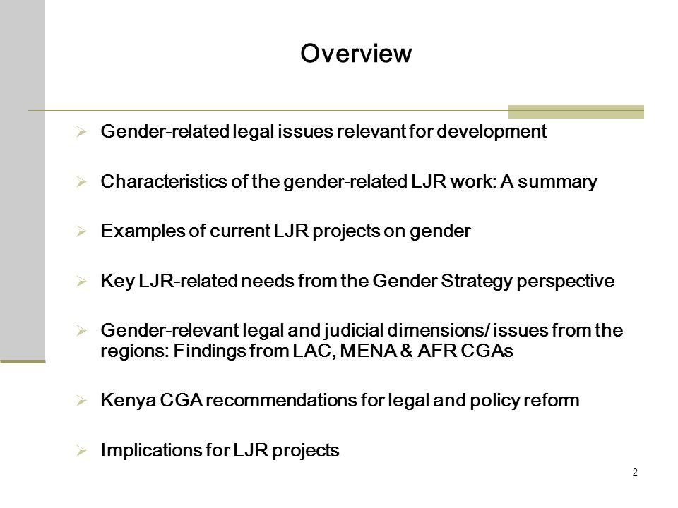 2 Overview Gender-related legal issues relevant for development Characteristics of the gender-related LJR work: A summary Examples of current LJR proj