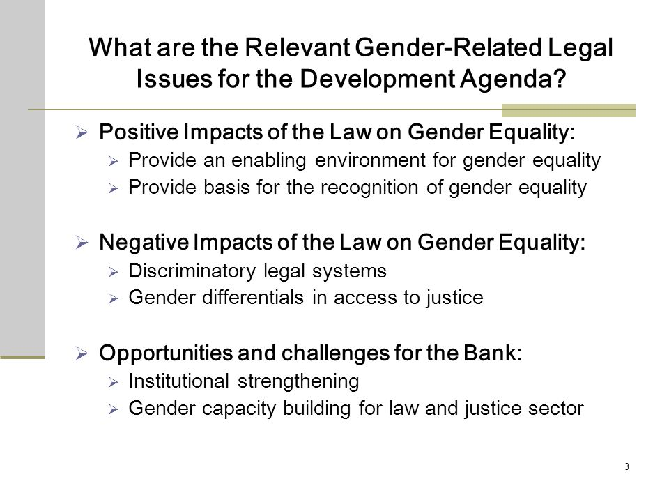 3 What are the Relevant Gender-Related Legal Issues for the Development Agenda.