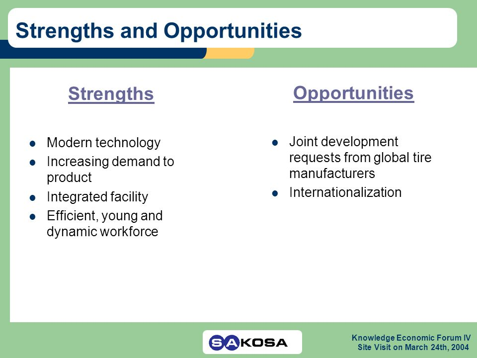 Knowledge Economic Forum IV Site Visit on March 24th, 2004 Strengths and Opportunities Strengths Modern technology Increasing demand to product Integrated facility Efficient, young and dynamic workforce Opportunities Joint development requests from global tire manufacturers Internationalization
