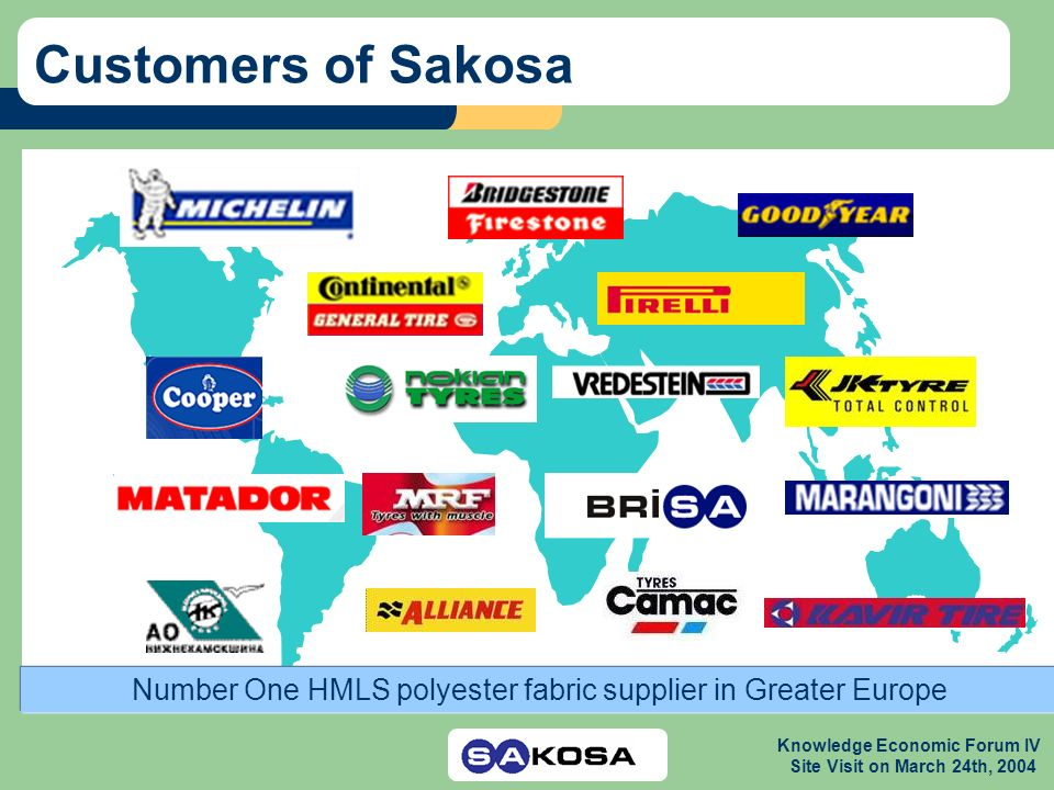 Knowledge Economic Forum IV Site Visit on March 24th, 2004 Customers of Sakosa Number One HMLS polyester fabric supplier in Greater Europe