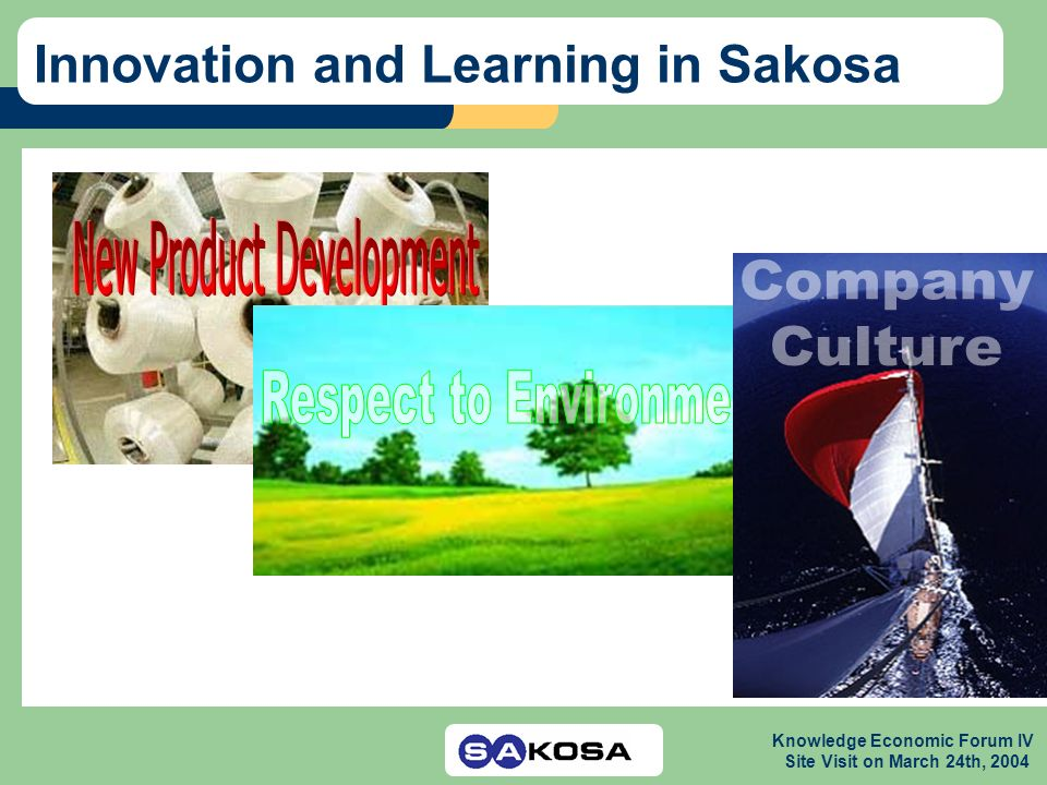 Knowledge Economic Forum IV Site Visit on March 24th, 2004 Innovation and Learning in Sakosa