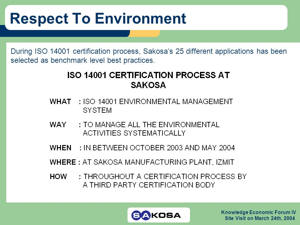 Knowledge Economic Forum IV Site Visit on March 24th, 2004 Respect To Environment During ISO 14001 certification process, Sakosas 25 different applications has been selected as benchmark level best practices.