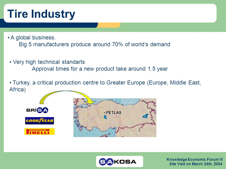 Knowledge Economic Forum IV Site Visit on March 24th, 2004 Tire Industry A global business.