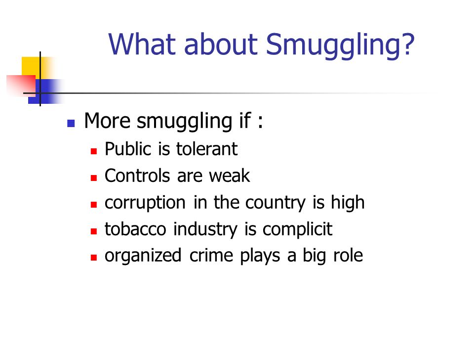 What about Smuggling? More smuggling if : Public is tolerant Controls are weak corruption in the country is high tobacco industry is complicit organiz