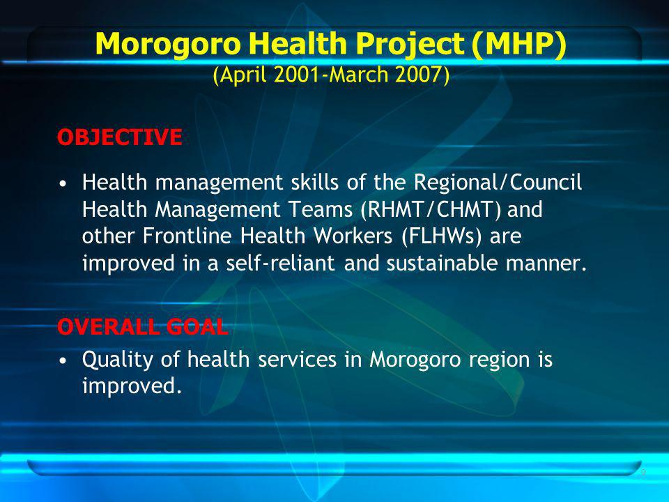 9 Morogoro Health Project (MHP) (April 2001-March 2007) OBJECTIVE Health management skills of the Regional/Council Health Management Teams (RHMT/CHMT) and other Frontline Health Workers (FLHWs) are improved in a self-reliant and sustainable manner.