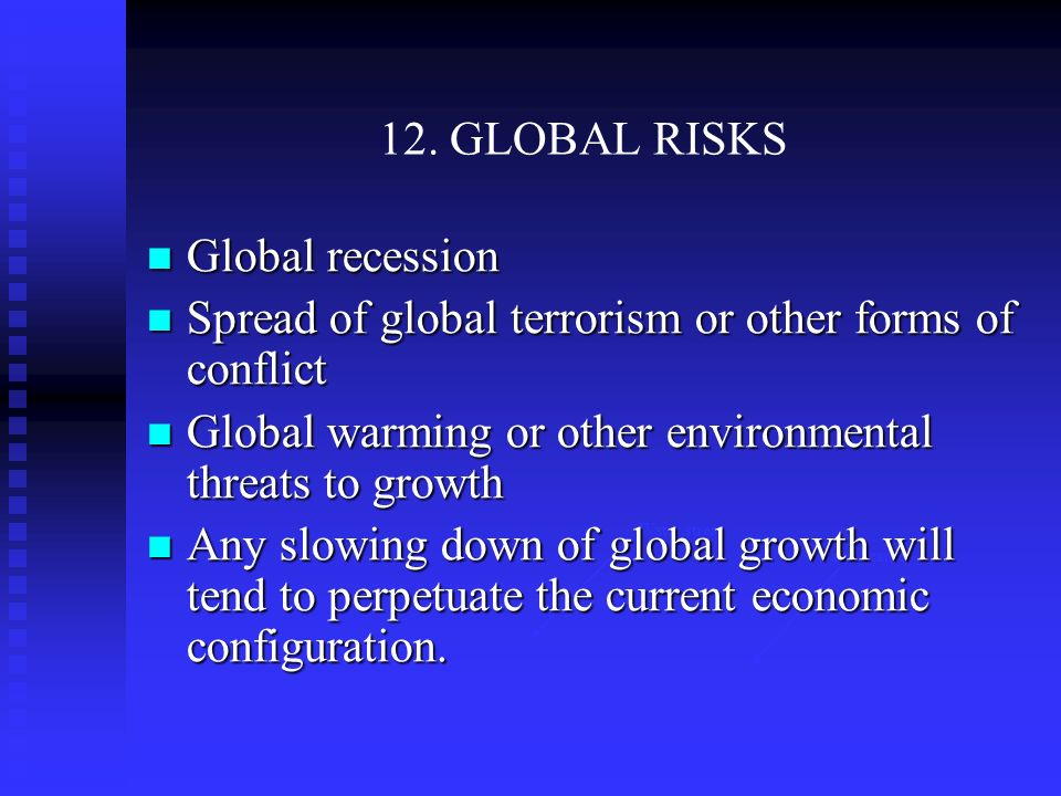 12. GLOBAL RISKS Water stress Water scarce Global recession Global recession Spread of global terrorism or other forms of conflict Spread of global te