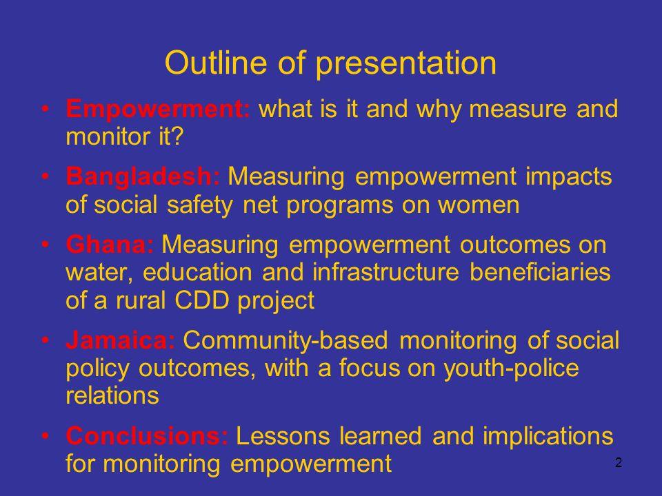 13 Bangladesh – Empowerment indicators 2 Household questionnaire empowerment module e.g.