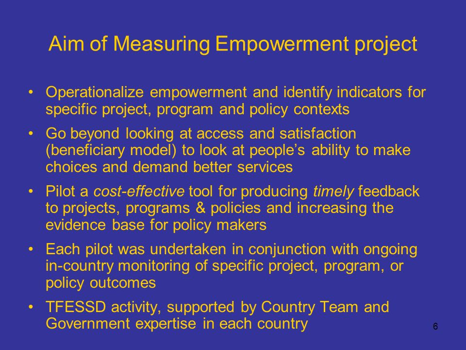 37 Measuring empowerment in Jamaica: Reflections The application of a mixed method diagnostic tool allowed the evaluation to look at the problems affecting everyday service provider-user interaction, but also to delve deeper to examine the social structural issues of class, gender and social hierarchy.