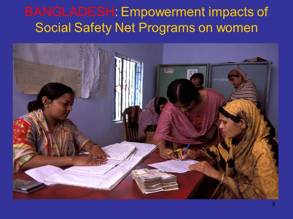 9 Bangladesh - motivation The Bangladesh PRSP emphasises the: –Role of Social Safety Net Programs (SSNP) in reducing poverty –Need to focus on the empowerment of women The substantial literature on womens empowerment in Bangladesh does not treat SSNP in detail It was possible to explore this issue by adding TFESSD funds to an existing JSDF-funded survey of SSNP being implemented by the Bangladesh Bureau of Statistics