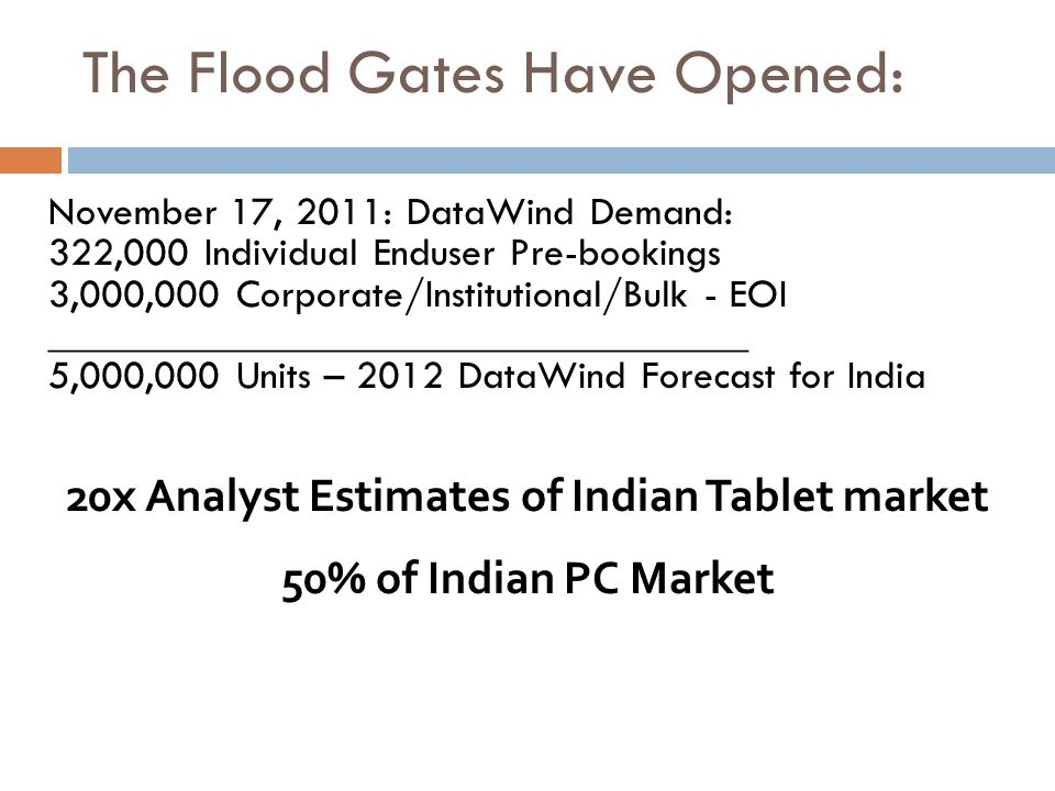November 17, 2011: DataWind Demand: 322,000 Individual Enduser Pre-bookings 3,000,000 Corporate/Institutional/Bulk - EOI _____________________________