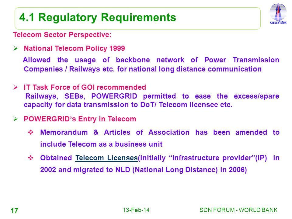 13-Feb-14SDN FORUM - WORLD BANK 17 4.1 Regulatory Requirements Telecom Sector Perspective: National Telecom Policy 1999 Allowed the usage of backbone