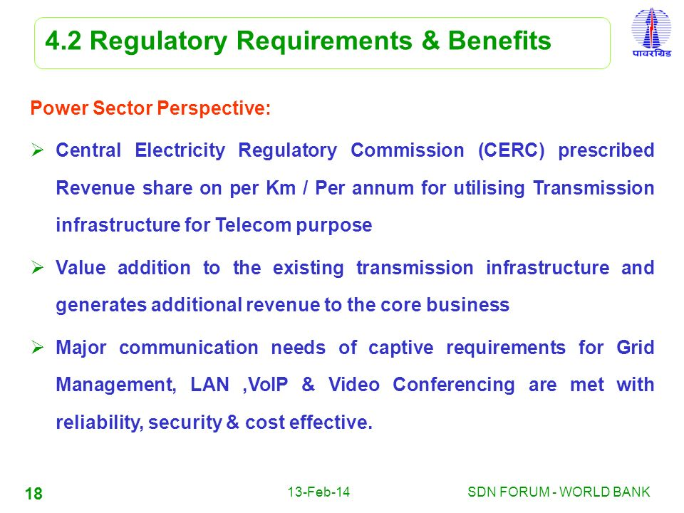 13-Feb-14SDN FORUM - WORLD BANK 18 4.2 Regulatory Requirements & Benefits Power Sector Perspective: Central Electricity Regulatory Commission (CERC) p