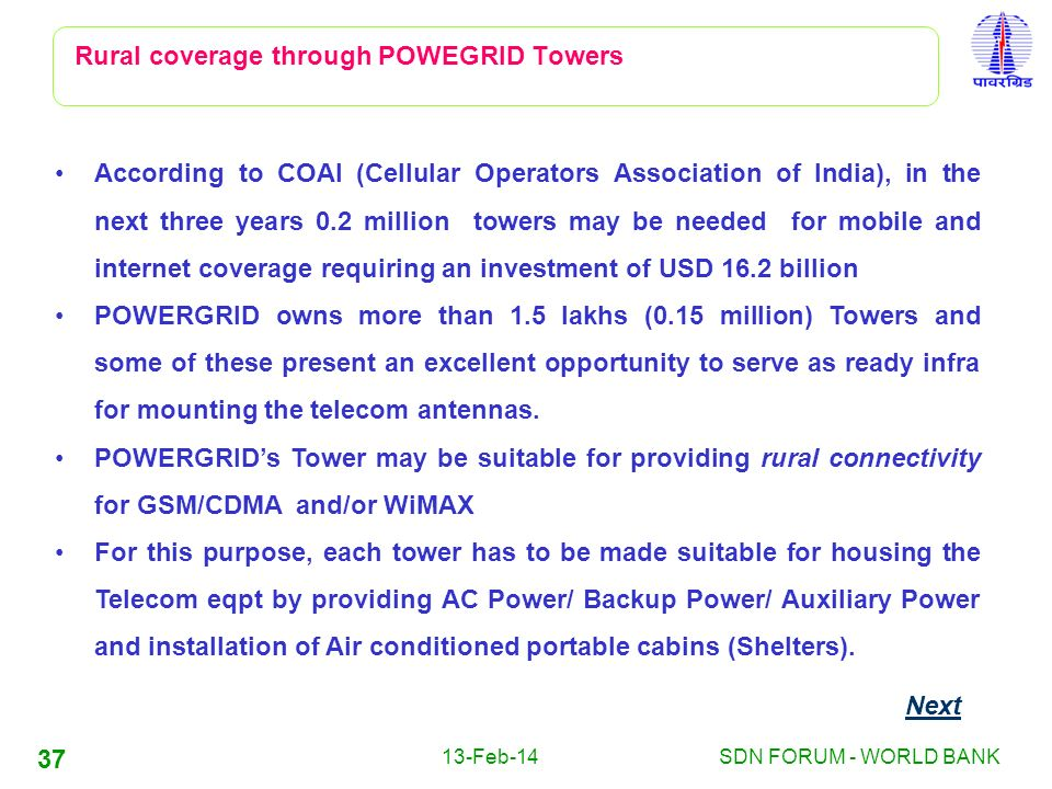13-Feb-14SDN FORUM - WORLD BANK 37 Rural coverage through POWEGRID Towers According to COAI (Cellular Operators Association of India), in the next thr