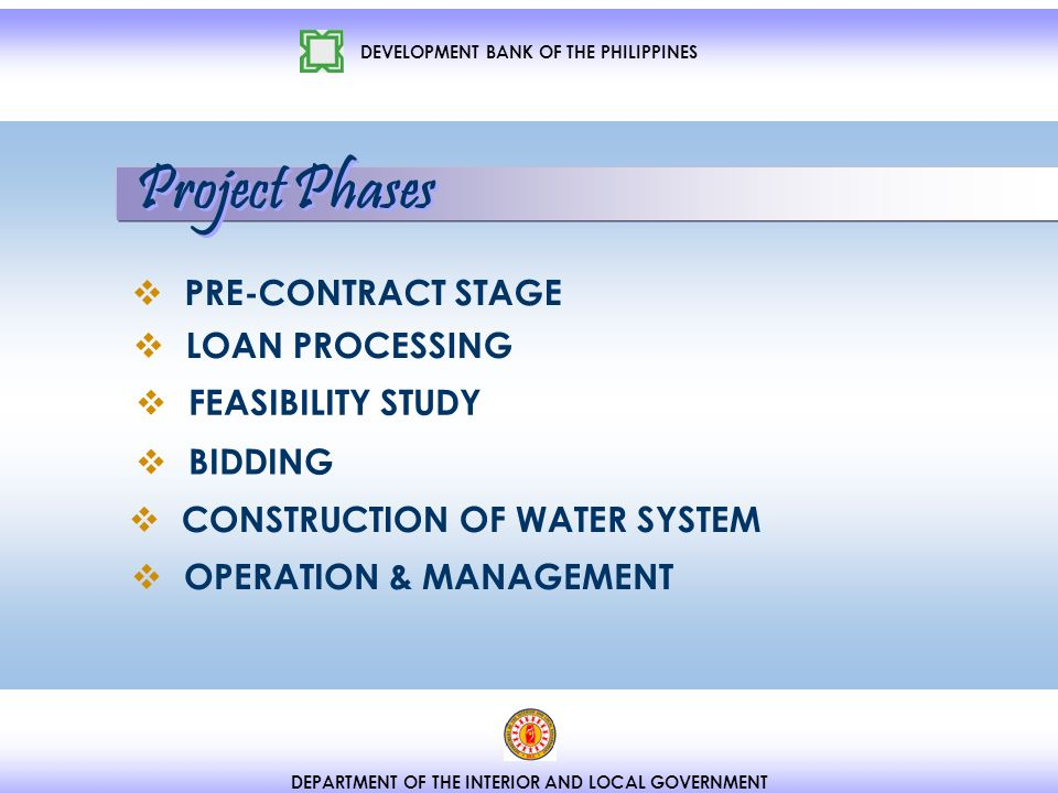 DEVELOPMENT BANK OF THE PHILIPPINES DEPARTMENT OF THE INTERIOR AND LOCAL GOVERNMENT PRE-CONTRACT STAGE LOAN PROCESSING FEASIBILITY STUDY BIDDING CONSTRUCTION OF WATER SYSTEM OPERATION & MANAGEMENT Project Phases