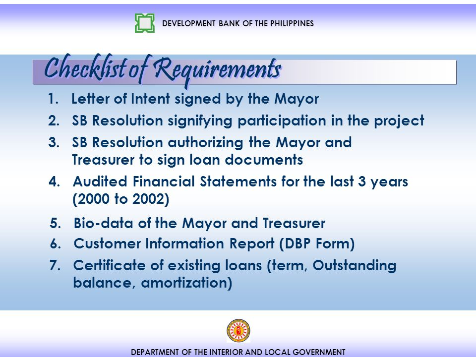 DEVELOPMENT BANK OF THE PHILIPPINES DEPARTMENT OF THE INTERIOR AND LOCAL GOVERNMENT 2.
