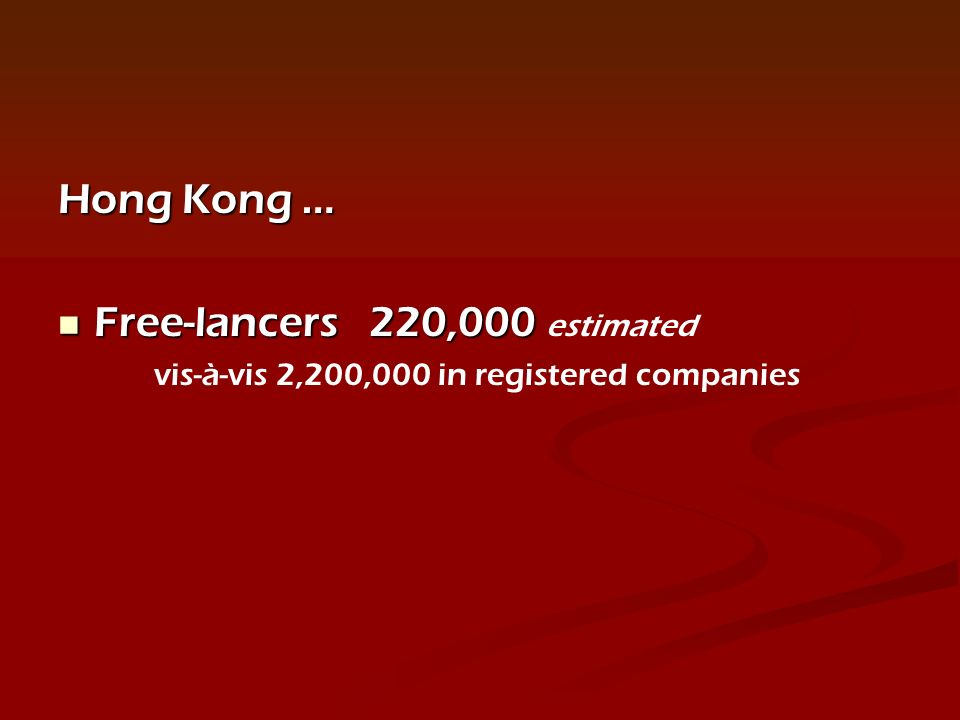 Hong Kong … Free-lancers 220,000 Free-lancers 220,000 estimated vis-à-vis 2,200,000 in registered companies