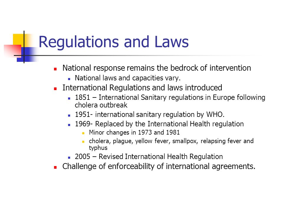 Regulations and Laws National response remains the bedrock of intervention National laws and capacities vary. International Regulations and laws intro