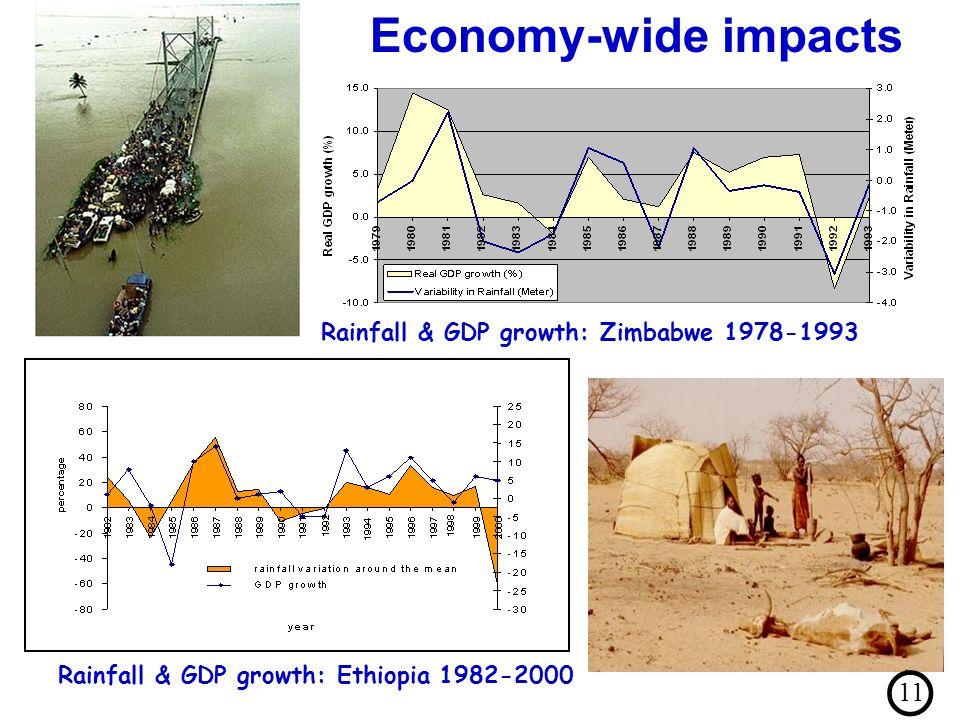 Rainfall & GDP growth: Ethiopia 1982-2000 Rainfall & GDP growth: Zimbabwe 1978-1993 Economy-wide impacts 11