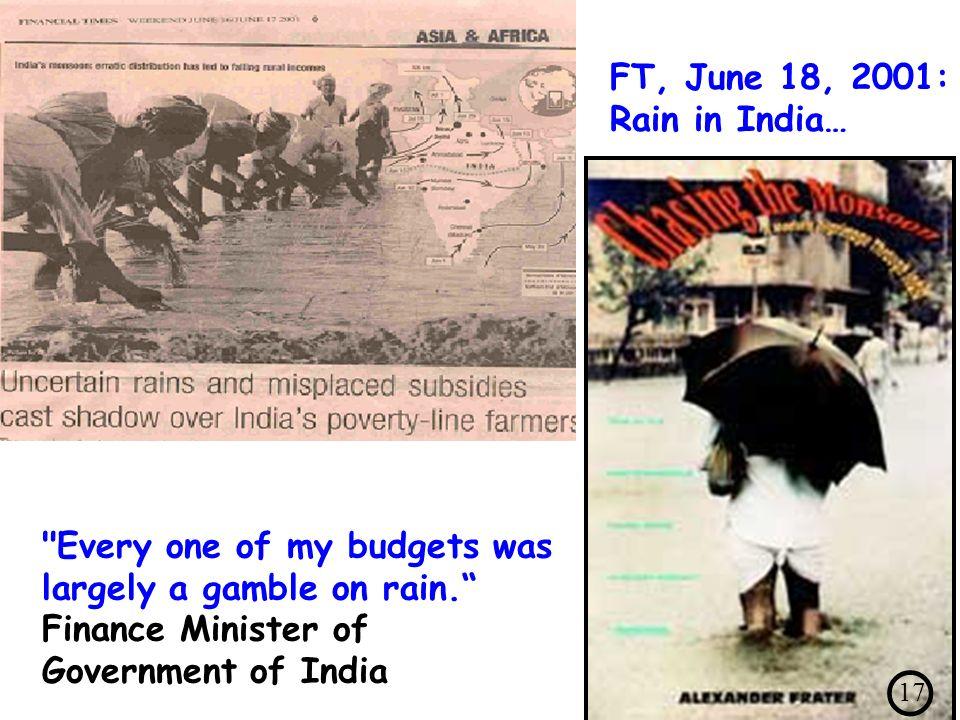 FT, June 18, 2001: Rain in India…