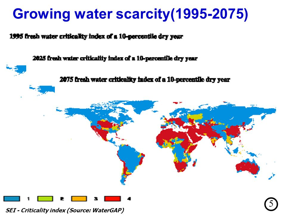 Growing water scarcity(1995-2075) SEI - Criticality index (Source: WaterGAP) 5