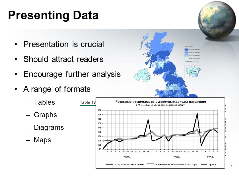 7 Presenting Data Presentation is crucial Should attract readers Encourage further analysis A range of formats –Tables –Graphs –Diagrams –Maps