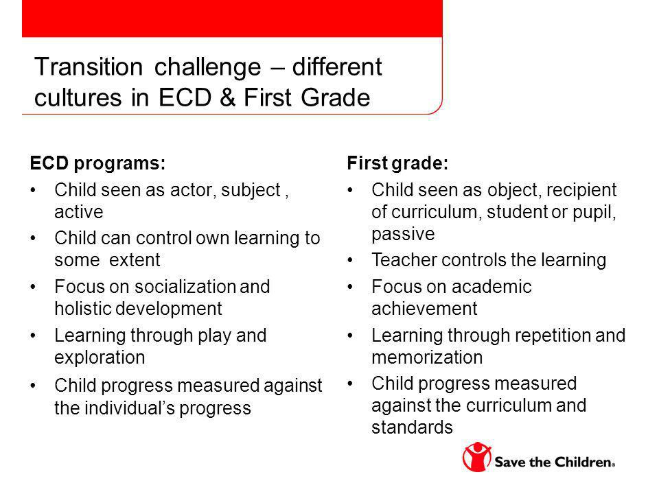 Transition challenge – different cultures in ECD & First Grade ECD programs: Child seen as actor, subject, active Child can control own learning to some extent Focus on socialization and holistic development Learning through play and exploration Child progress measured against the individuals progress First grade: Child seen as object, recipient of curriculum, student or pupil, passive Teacher controls the learning Focus on academic achievement Learning through repetition and memorization Child progress measured against the curriculum and standards