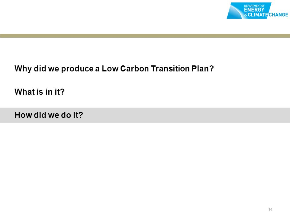 14 Why did we produce a Low Carbon Transition Plan What is in it How did we do it