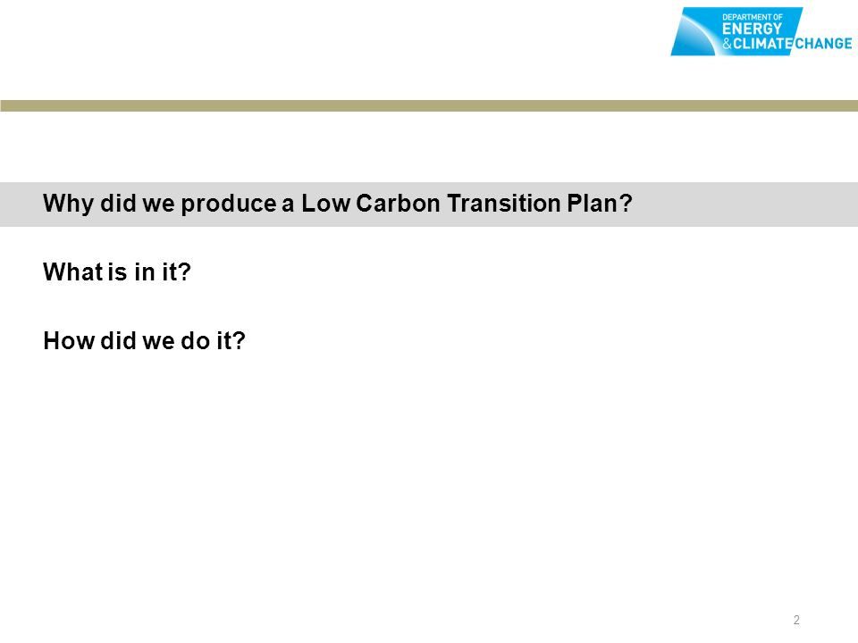 2 Why did we produce a Low Carbon Transition Plan What is in it How did we do it