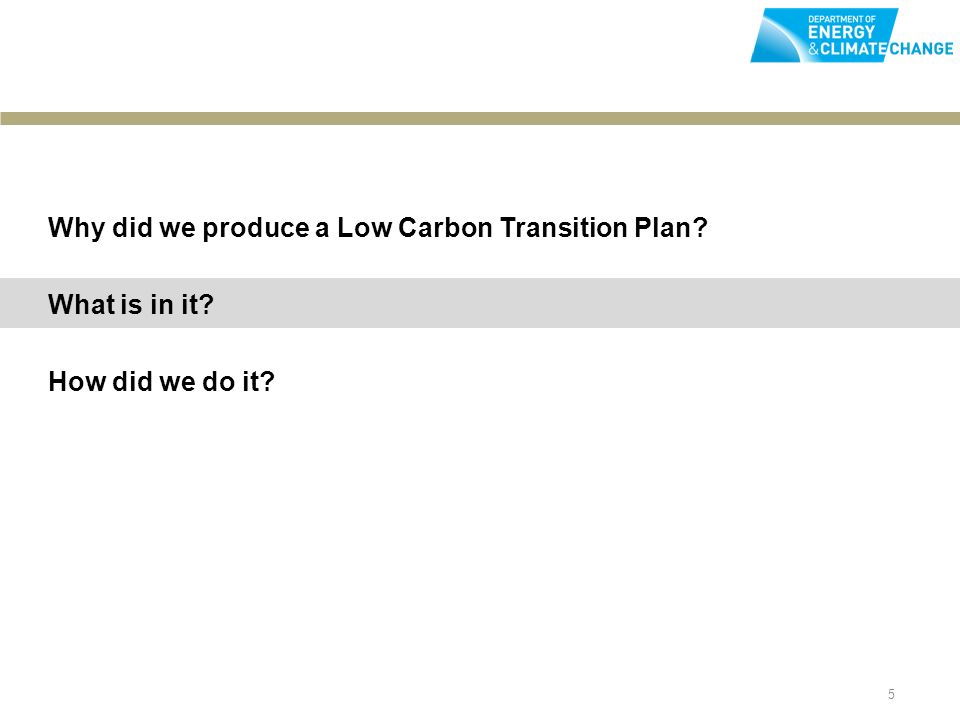 5 Why did we produce a Low Carbon Transition Plan What is in it How did we do it