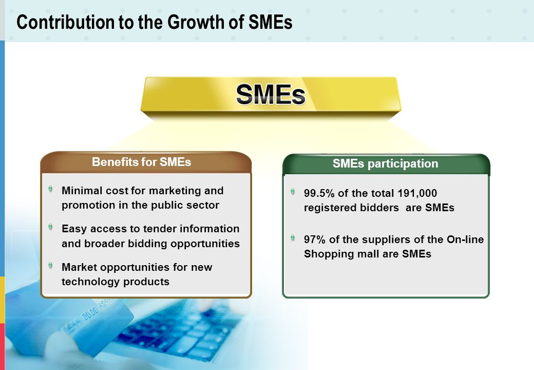 Contribution to the Growth of SMEs Benefits for SMEs Minimal cost for marketing and promotion in the public sector Easy access to tender information a