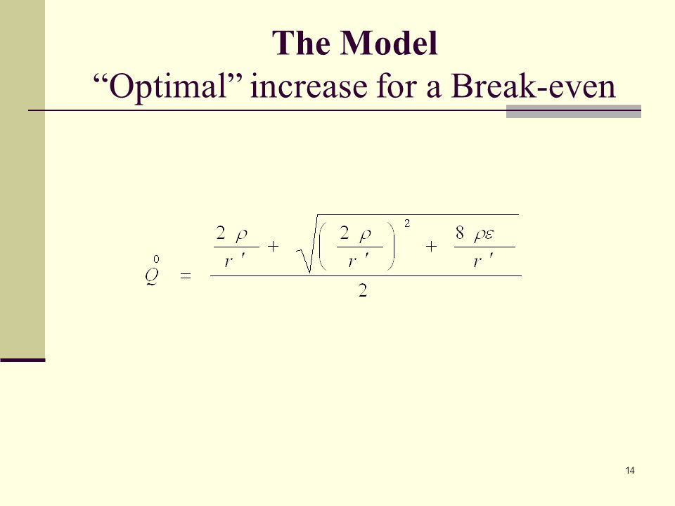 14 The Model Optimal increase for a Break-even