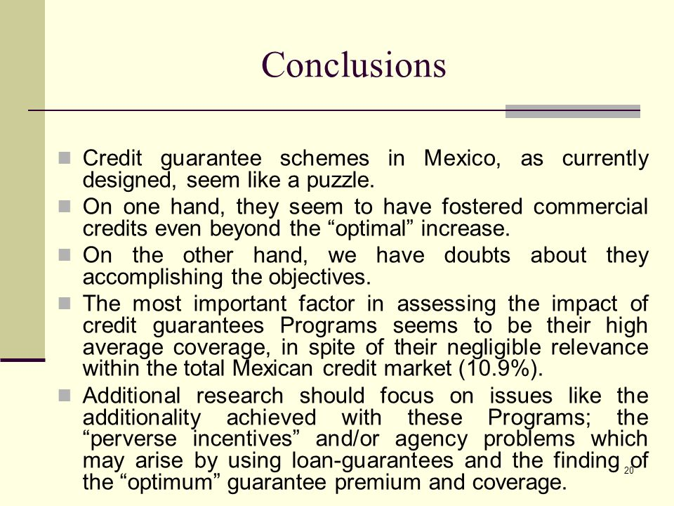 20 Conclusions Credit guarantee schemes in Mexico, as currently designed, seem like a puzzle.