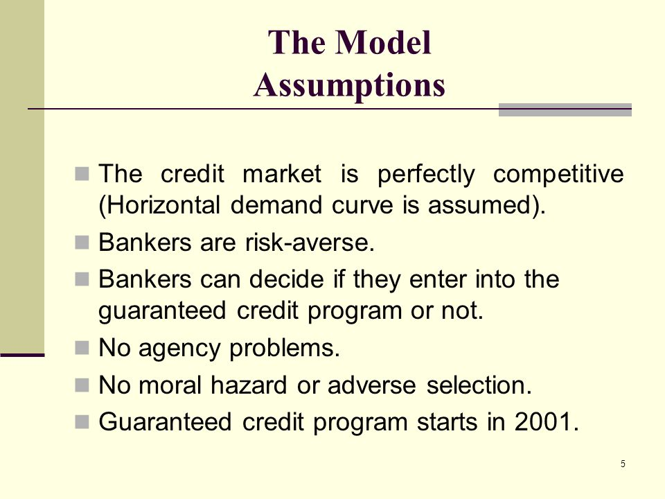 5 The Model Assumptions The credit market is perfectly competitive (Horizontal demand curve is assumed).