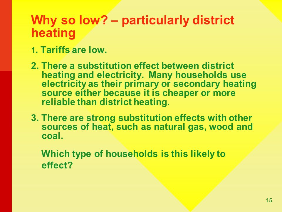 15 Why so low. – particularly district heating 1.