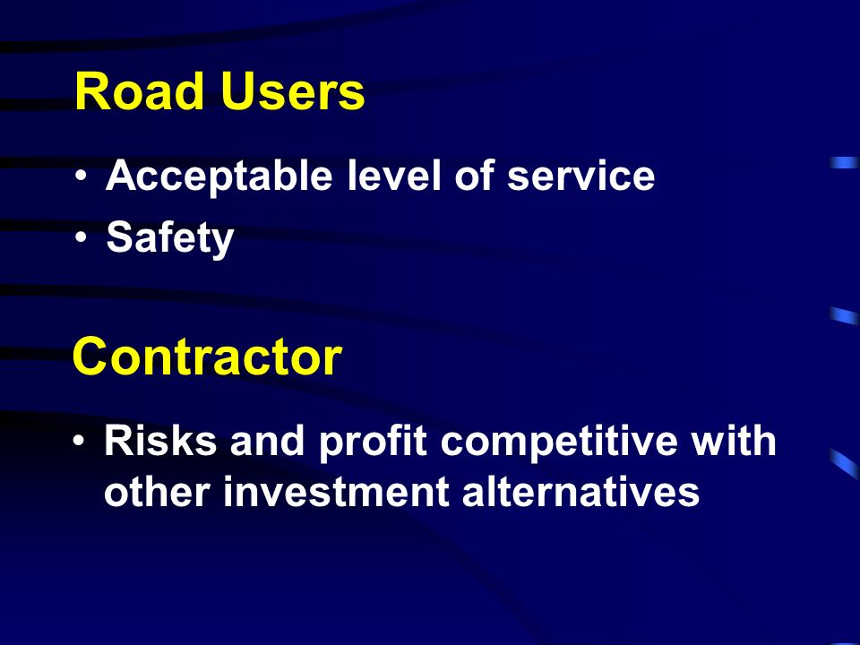 Road Users Acceptable level of service Safety Contractor Risks and profit competitive with other investment alternatives