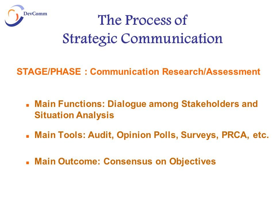 The Process of Strategic Communication Main Functions: Dialogue among Stakeholders and Situation Analysis Main Tools: Audit, Opinion Polls, Surveys, PRCA, etc.