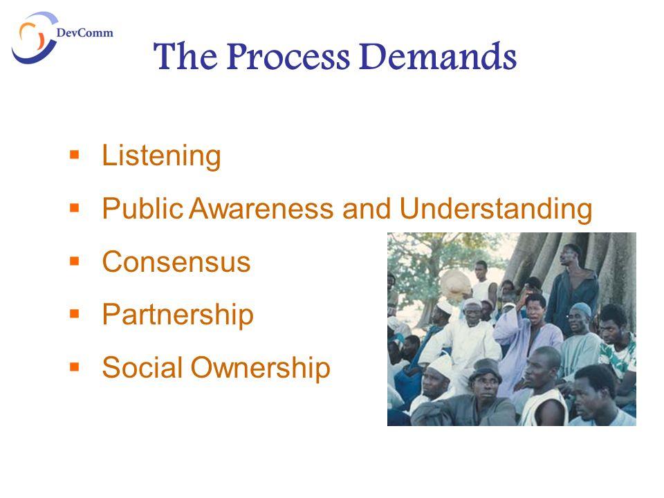 The Process Demands Listening Public Awareness and Understanding Consensus Partnership Social Ownership