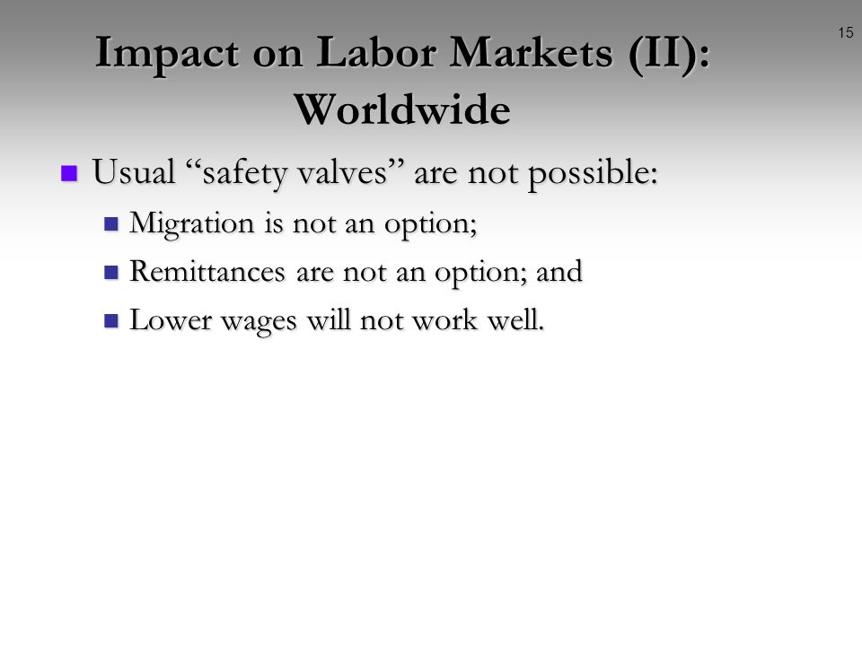 14 Impact on Labor Markets (I): Deep and Prolonged The crisis will be deep. Safety nets, which were thought for a normal business cycle, may be not go