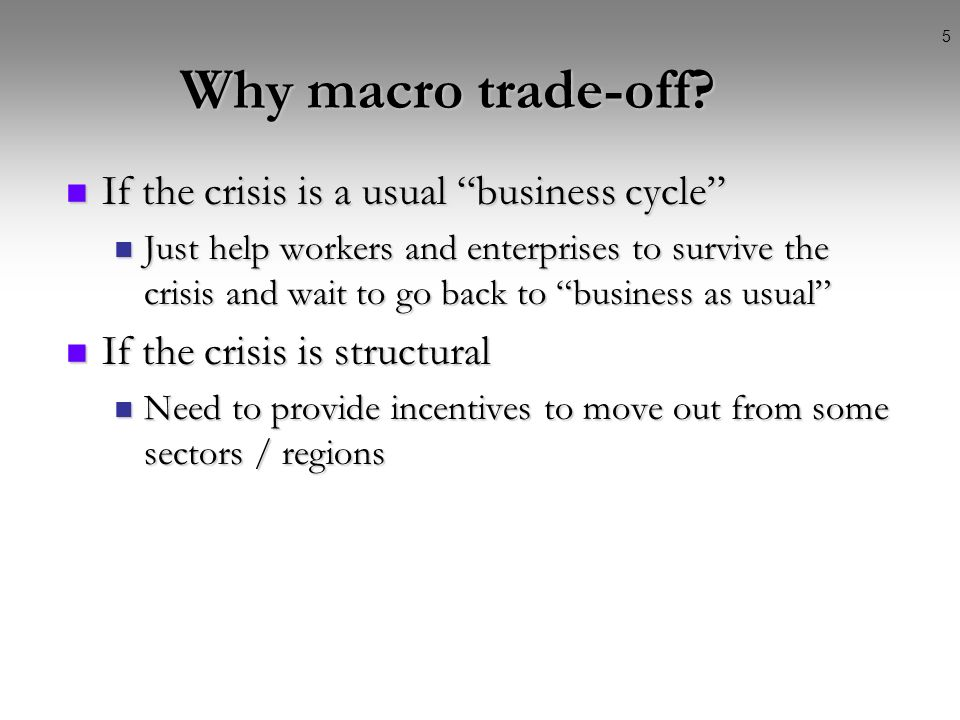 4 Standard policy dilemmas Policy (macro) trade-off between: Policy (macro) trade-off between: Attenuating effects of recession on the crisis Attenuat