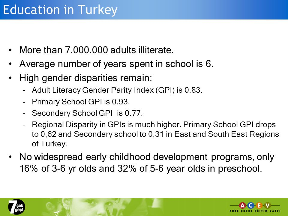 Despite a number of limited statements recognising the importance of ECE, the Turkish government was not prioritising the issue.