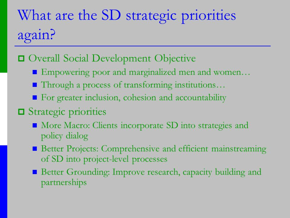 What are the SD strategic priorities again.