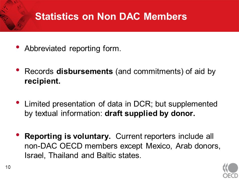 Statistics on Non DAC Members Abbreviated reporting form.