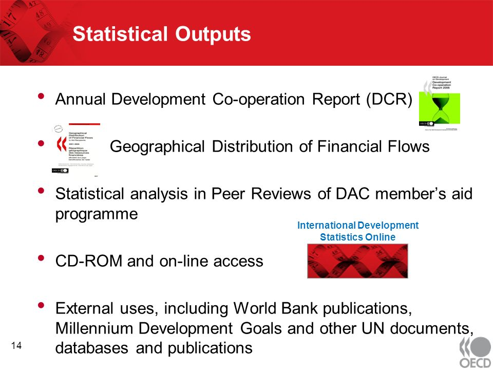 Statistical Outputs Annual Development Co-operation Report (DCR) Geographical Distribution of Financial Flows Statistical analysis in Peer Reviews of DAC members aid programme CD-ROM and on-line access External uses, including World Bank publications, Millennium Development Goals and other UN documents, databases and publications 14 International Development Statistics Online