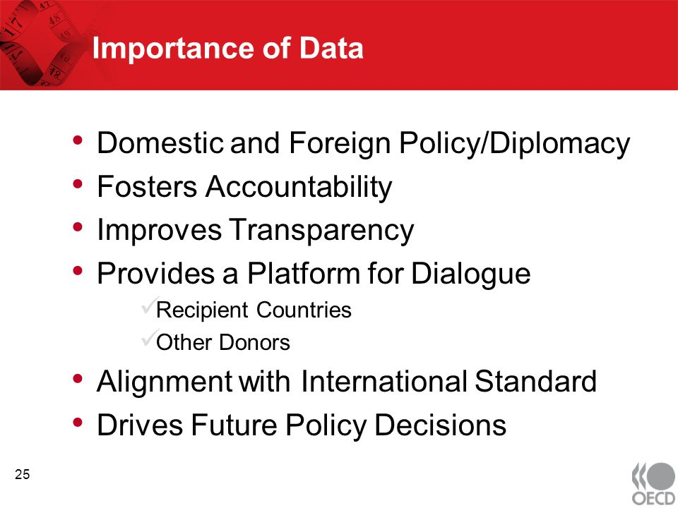 Importance of Data Domestic and Foreign Policy/Diplomacy Fosters Accountability Improves Transparency Provides a Platform for Dialogue Recipient Countries Other Donors Alignment with International Standard Drives Future Policy Decisions 25